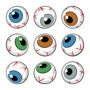 set of eyeballs on white background - stock illustration