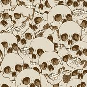 human skulls seamless background - stock illustration