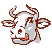 head of white cow - stock illustration