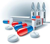 Pills, tablets, box and ampoules Stock Illustration