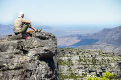 table mountain, 7 new world wonders inside of cape town city - stock photo