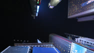 Stock Video Footage of Skyscraper buildings from below in Times Square New York