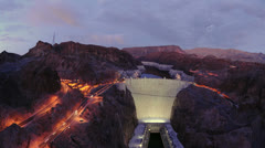 Time Lapse of Hoover Dam at Night - 4K - 4096x2304 Stock Footage