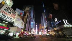 Driving POV shot New York City at night times square Stock Footage