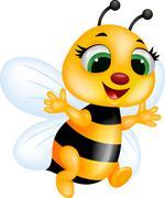 Funny bee cartoon Stock Illustration