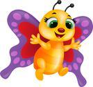 Funny butterfly cartoon Stock Illustration