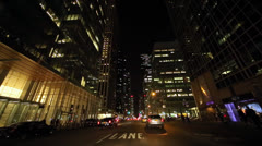 Driving POV shot New York City at night Stock Footage