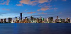 miami skyline at dusk - stock photo