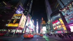 Driving POV shot New York City at night times square time-lapse - stock footage