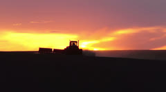 Tractor seeding spring wheat Stock Footage