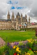 abbey of saint etienne,  caen, normandy, france - stock photo