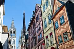 half-timbered houses at rouen, normandy, france - stock photo
