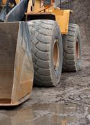 wheel of heavy digger - stock photo