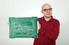 Man with chalkboard Stock Photos