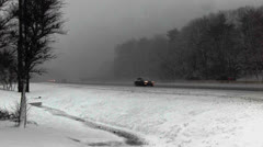 Snowstorm-Mass Turnpike 5 Highway Traffic.mp4 Stock Footage