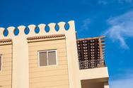 Exterior of Hotel Building at summer Stock Photos