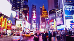 Time lapse of Times Square traffic at evening - stock footage