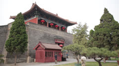 Dai Temple Taian China main courtyard entrance gate garden Stock Footage
