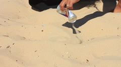 Cleaning The Beach - stock footage