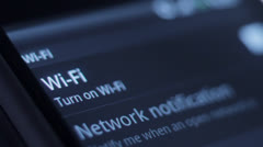 Connecting to WiFi signal on mobile device, cellphone Stock Footage
