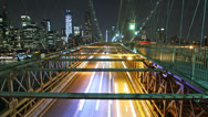Stock Video Footage of Time lapse of city traffic on Brooklyn bridge at night