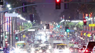 Stock Video Footage of Timelapse of Hollywood boulevard traffic at night