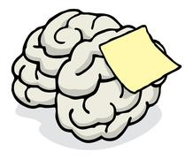 Blank note posted on brain reminder Stock Illustration