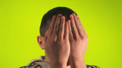 Preteen scared and peeks Stock Footage