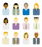 business people icons (multi ethnic) - stock illustration