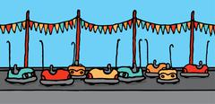 Bumper cars in carnival Stock Illustration