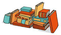 Sketchy bunch of piled books Stock Illustration