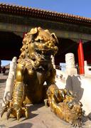 an imperial guardian lion in front of the gate of heavenly purity - stock photo