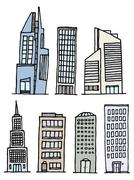 buildings handwritten set / sketchy architecture - stock illustration