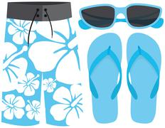Swimsuit, sunglasses and sandals Stock Illustration