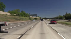 Driving freeway traffic, flatbed Stock Footage