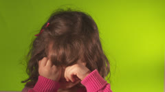 Cranky little girl - stock footage