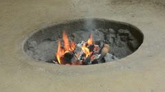 Primitive pit fire Stock Footage