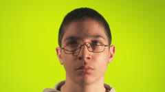 Preteen boy listening to parent confused Stock Footage