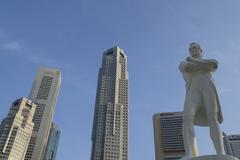 Sir Stamford Raffles Statue Stock Photos
