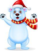Polar bear cartoon with red hat Stock Illustration