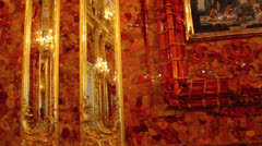 Amber room in Catherine Palace - Pushkin St. Petersburg Russia Stock Footage