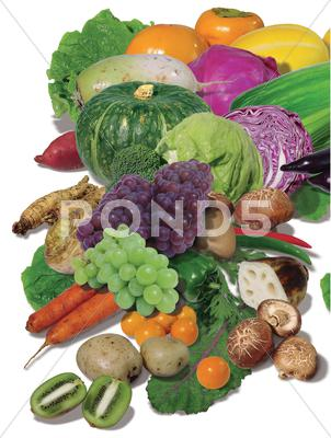 Stock photo of Large variety of fresh fruit and vegetables