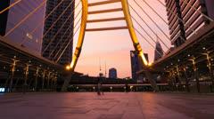 BANGKOK LANDMARK BRIDGE AT SUNSET - CHONGNONSI Stock Footage