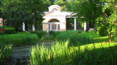 Pavilion with sculpture in Pavlovsk park Saint-Petersburg Russia Stock Footage