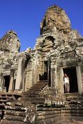 bayon temple, angkor area, siem reap, cambodia - stock photo