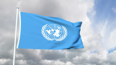 Flag of the Unites Nations Stock Footage