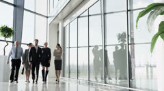 Attractive diverse business team in a light modern office building - stock footage