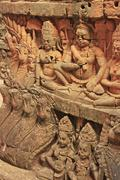 decorative wall carving, terrace of the leper king, angkor thom, cambodia - stock photo