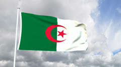 Flag from the Democratic Republic of Algeria Stock Footage