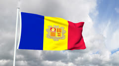 Flag from the Principality of Andorra Stock Footage